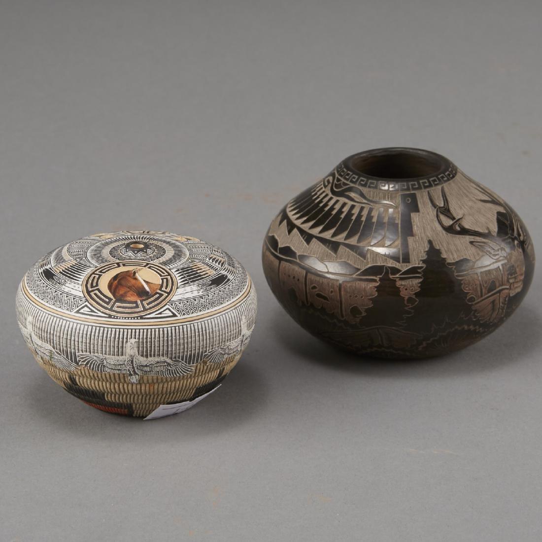 Naranjo, Nez Santa Clara Pottery Jars - 4