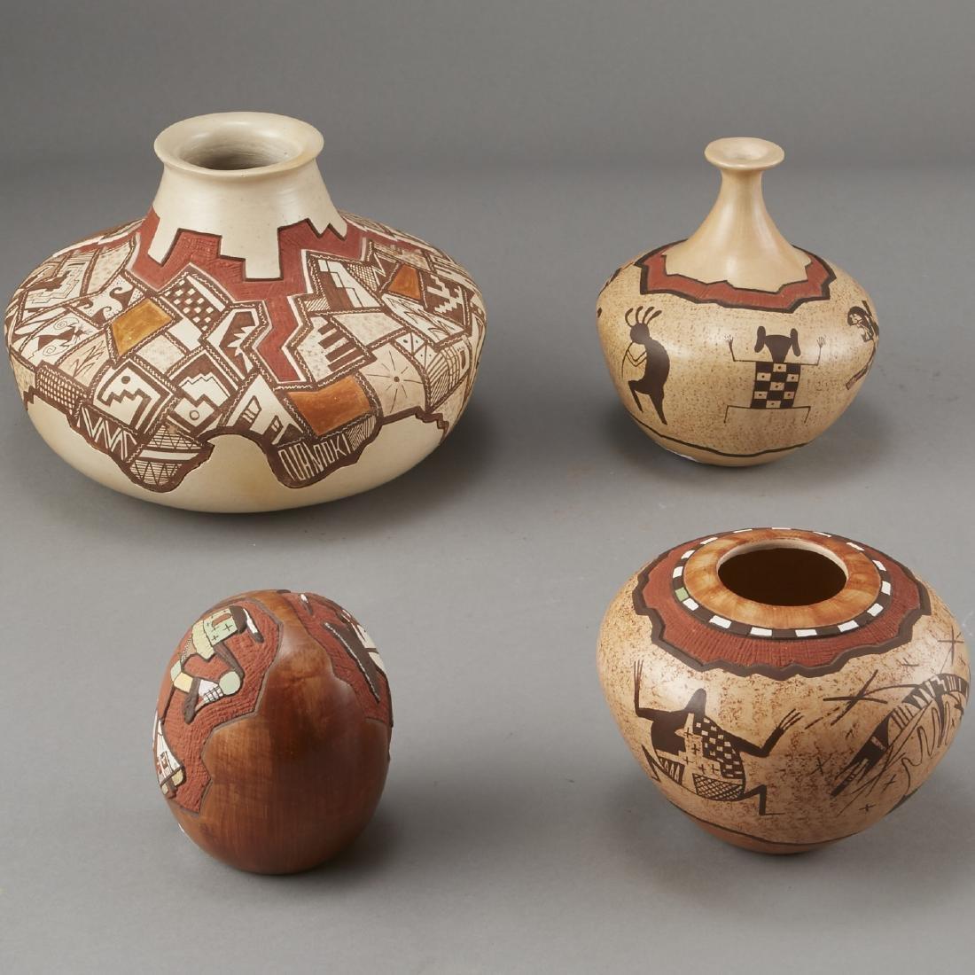 Group of 4 Lawrence Namoki Hopi Carved Jars