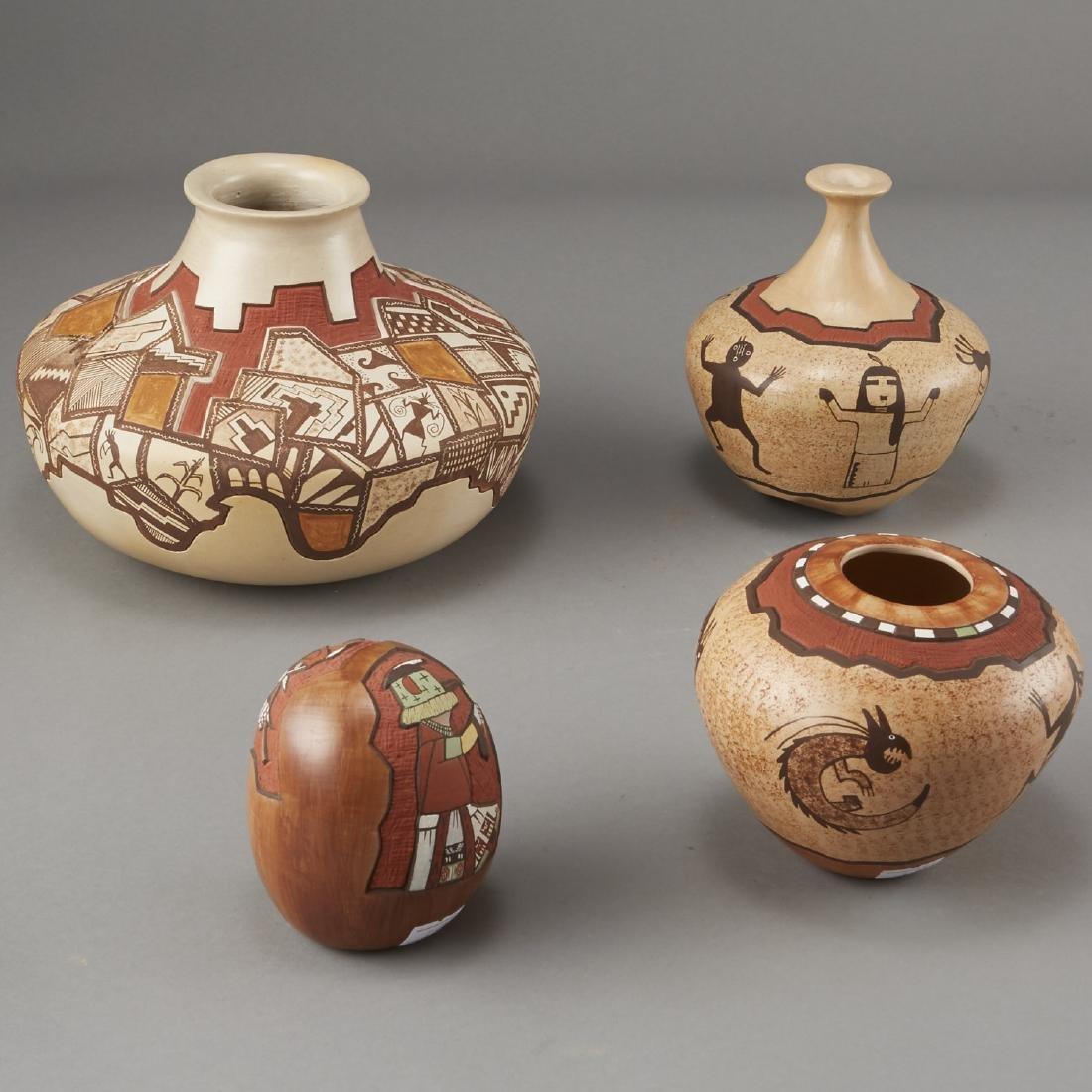 Group of 4 Lawrence Namoki Hopi Carved Jars - 2