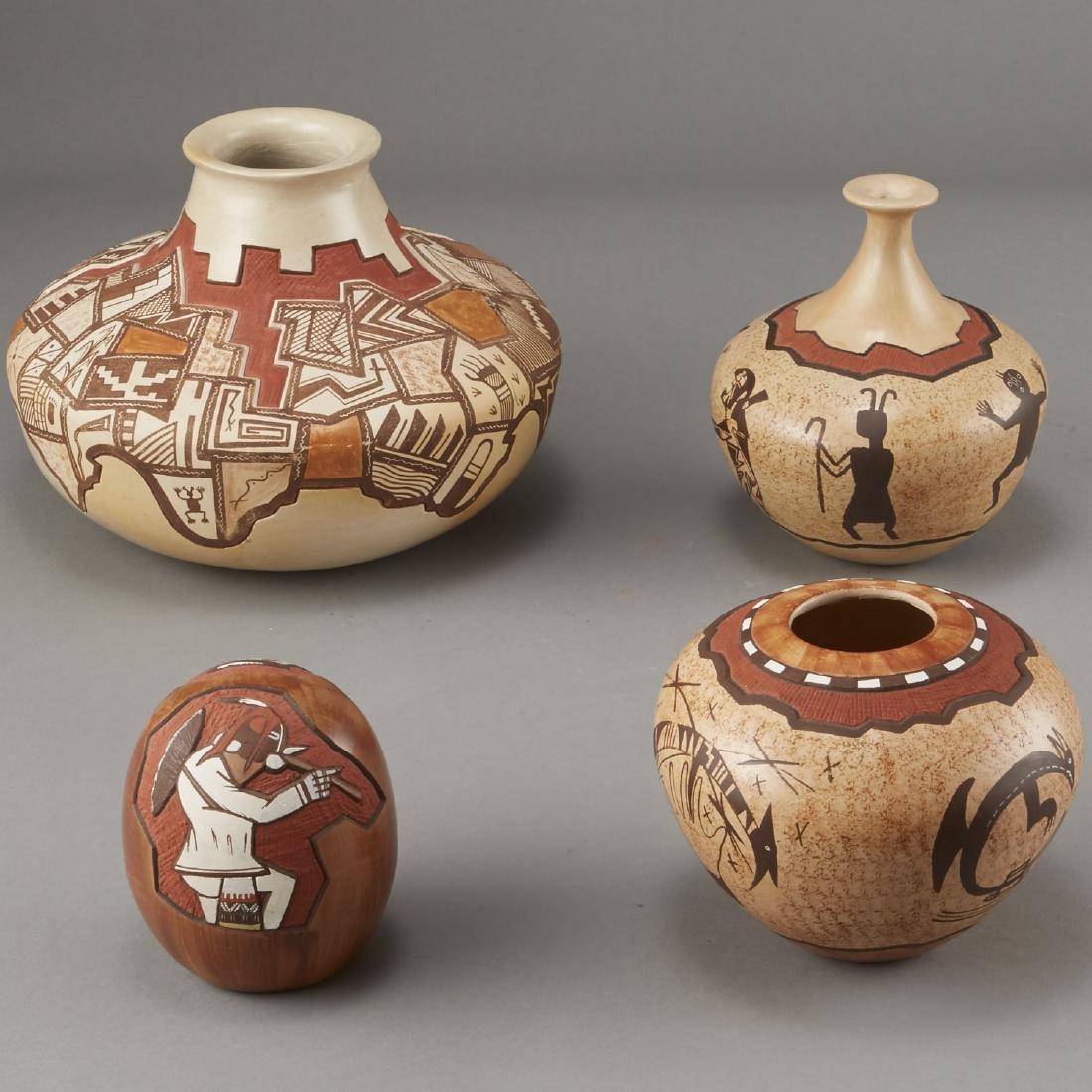 Group of 4 Lawrence Namoki Hopi Carved Jars - 3