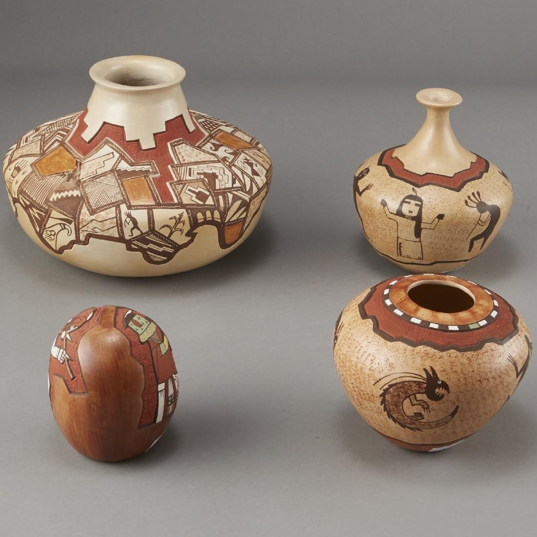 Group of 4 Lawrence Namoki Hopi Carved Jars - 4