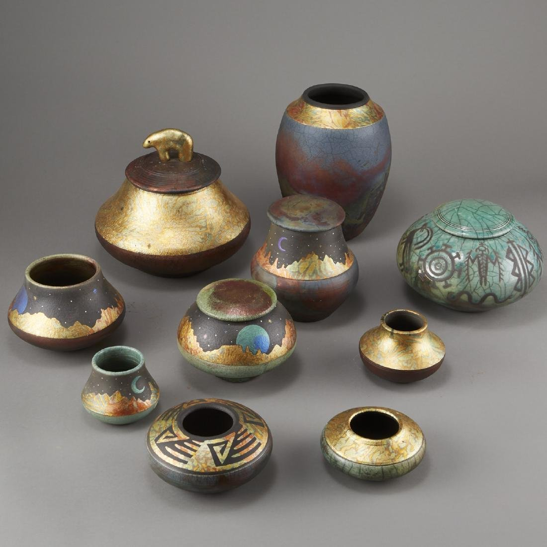 Group of 10 Rick Loewenkamp Raku Pottery