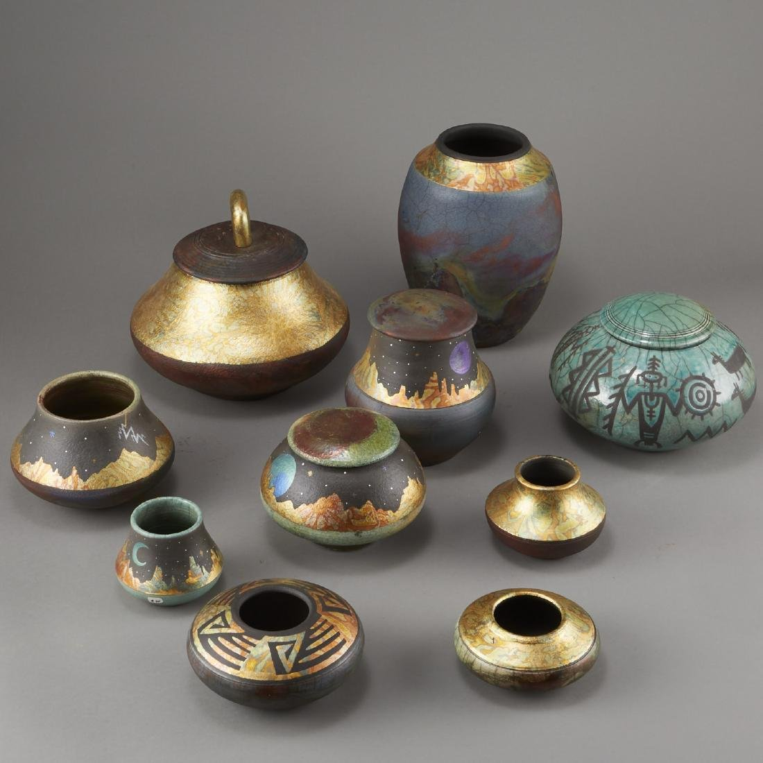 Group of 10 Rick Loewenkamp Raku Pottery - 2