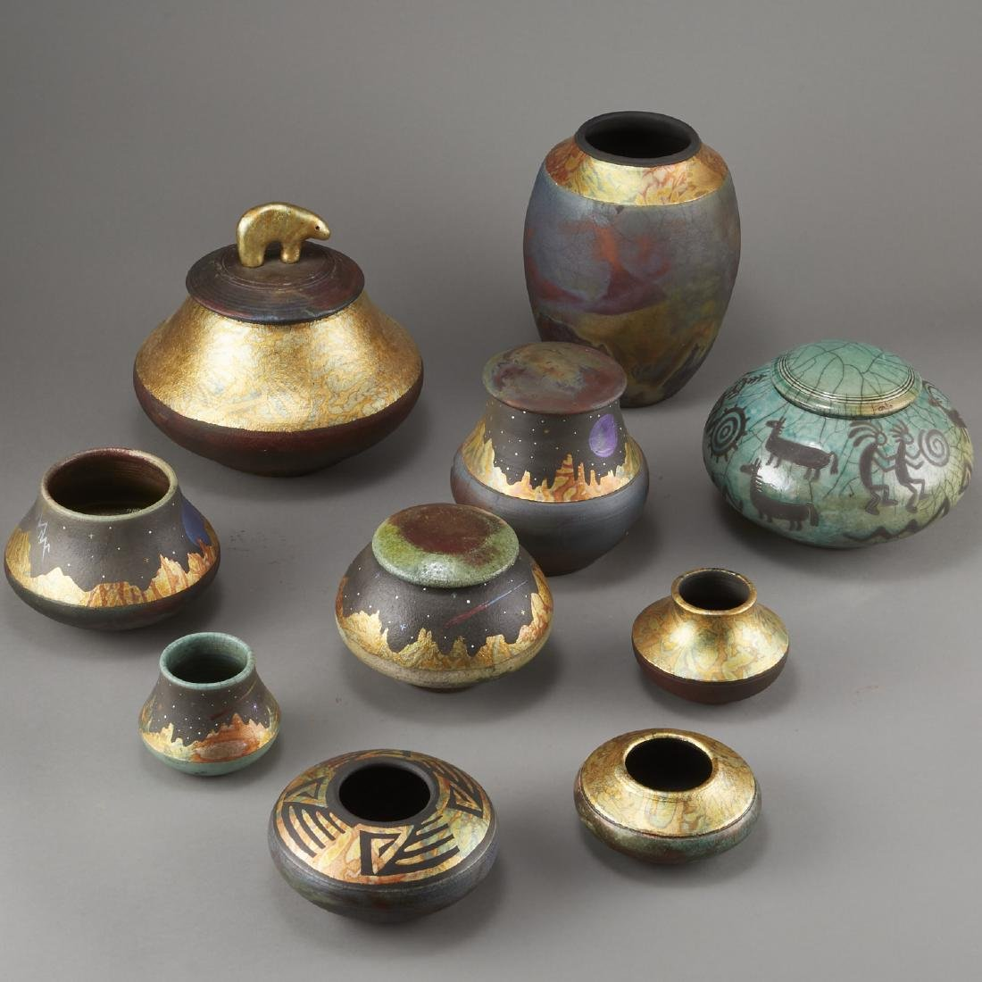 Group of 10 Rick Loewenkamp Raku Pottery - 3