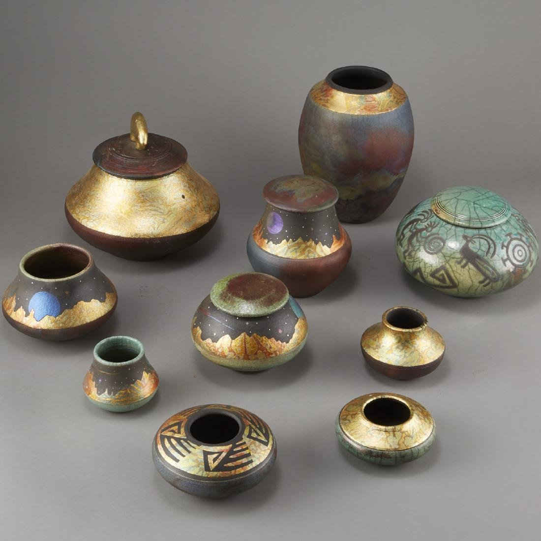 Group of 10 Rick Loewenkamp Raku Pottery - 4