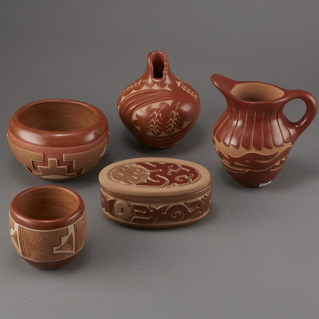 Group of 5 Santa Clara Redware Carved Pottery