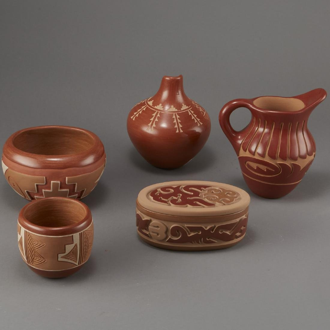 Group of 5 Santa Clara Redware Carved Pottery - 3