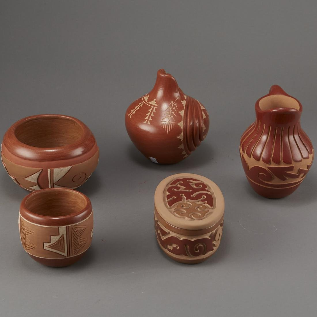 Group of 5 Santa Clara Redware Carved Pottery - 4