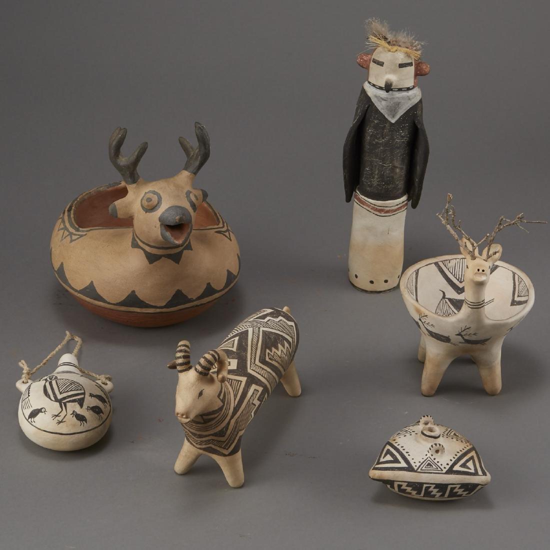 6 Laguna Pueblo Pottery Effigy Jars and Kachina