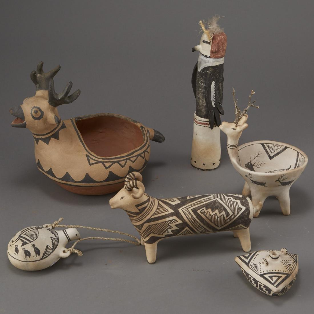 6 Laguna Pueblo Pottery Effigy Jars and Kachina - 2
