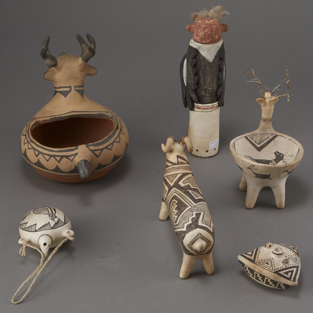 6 Laguna Pueblo Pottery Effigy Jars and Kachina - 3