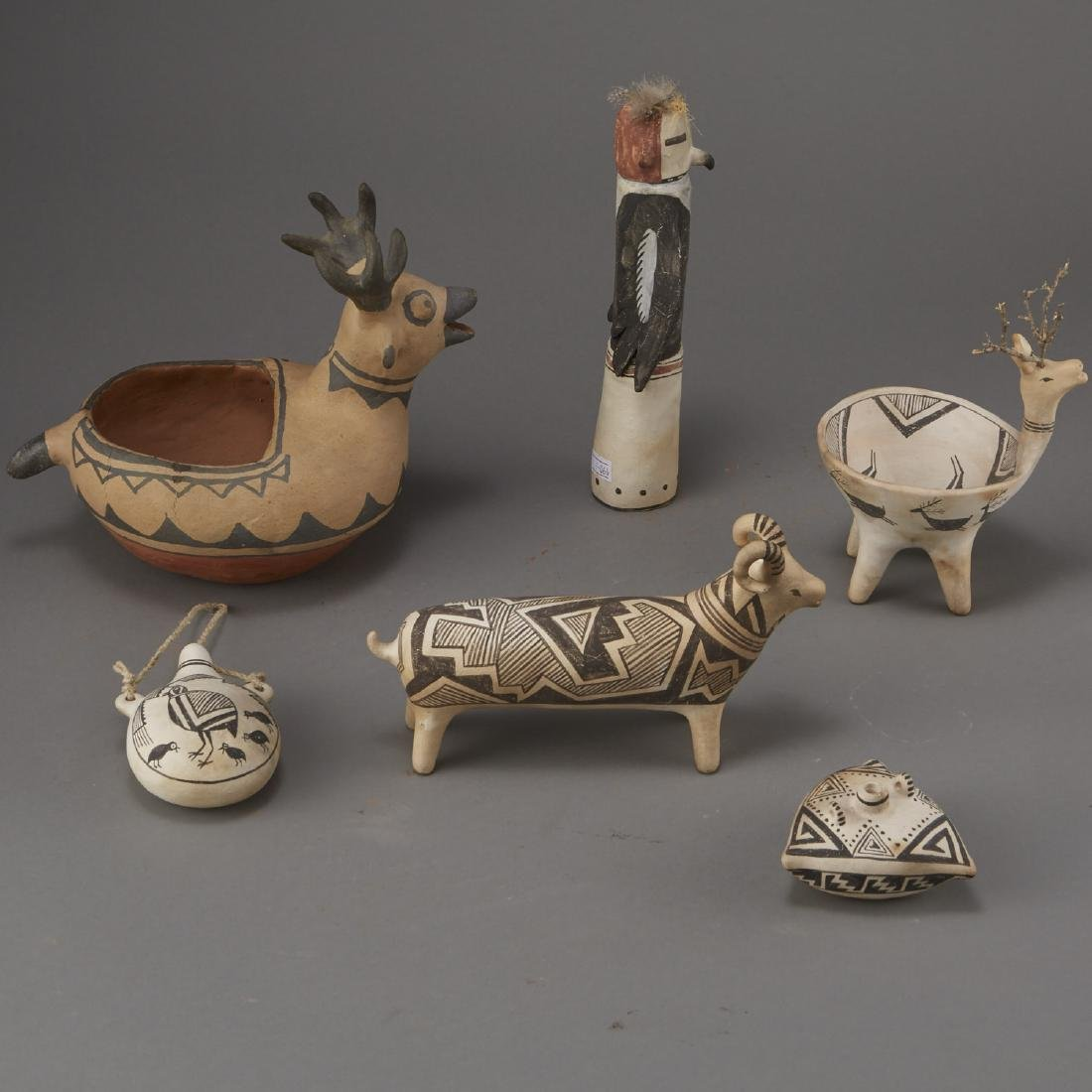 6 Laguna Pueblo Pottery Effigy Jars and Kachina - 4