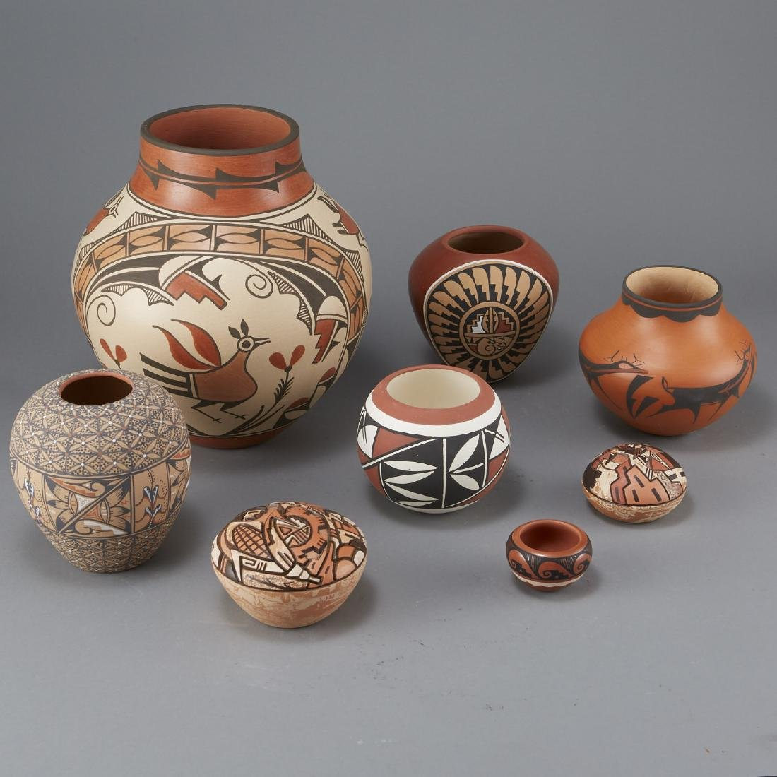 8 Pueblo Pottery Jars Largest 11 3/4 in