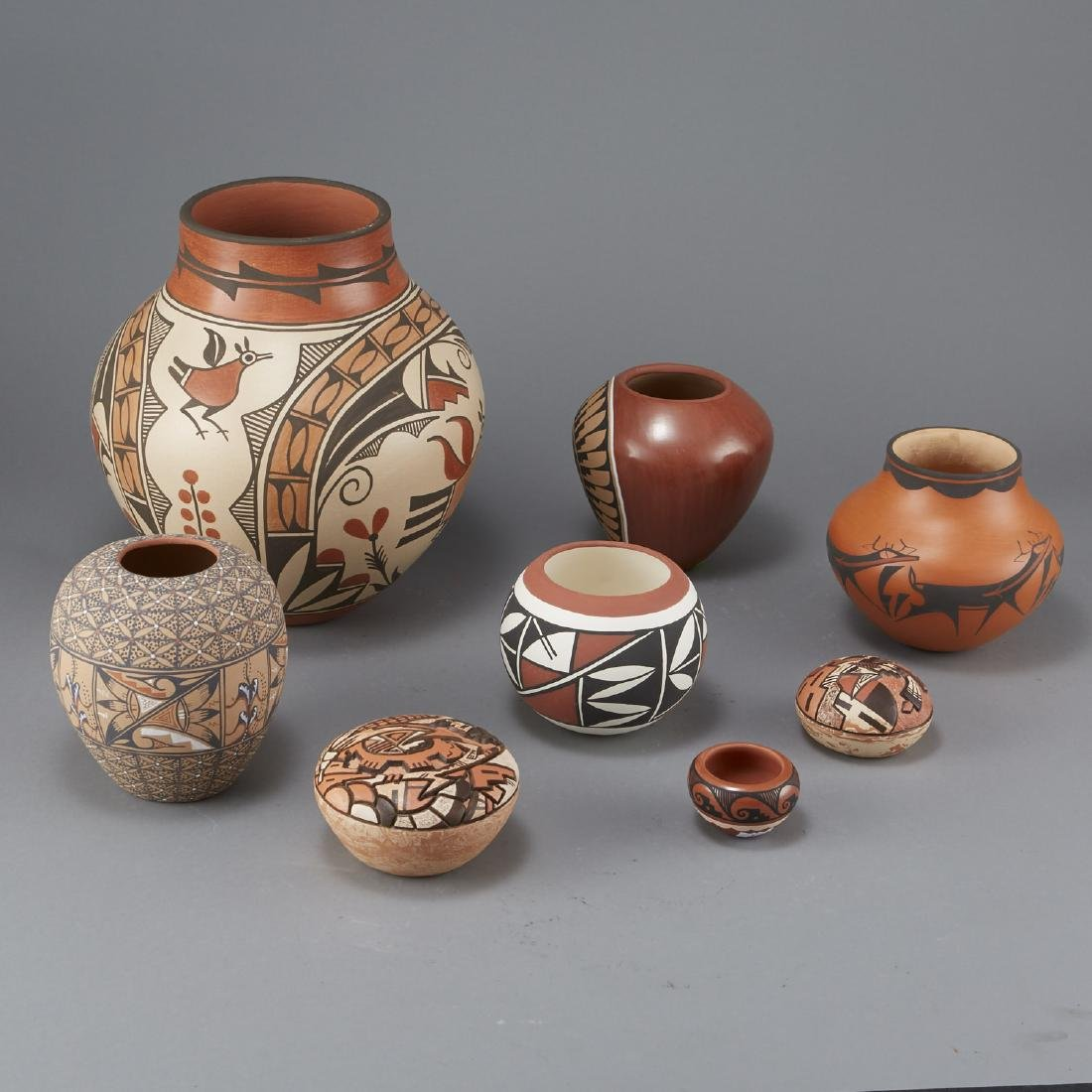 8 Pueblo Pottery Jars Largest 11 3/4 in - 2