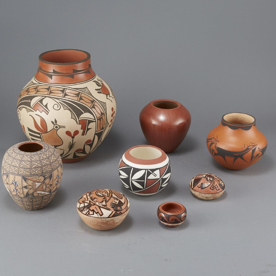 8 Pueblo Pottery Jars Largest 11 3/4 in - 3