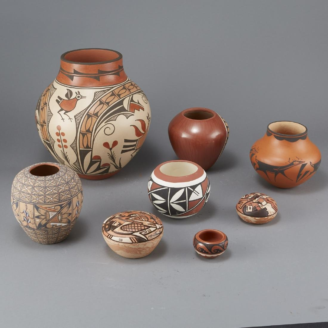 8 Pueblo Pottery Jars Largest 11 3/4 in - 4