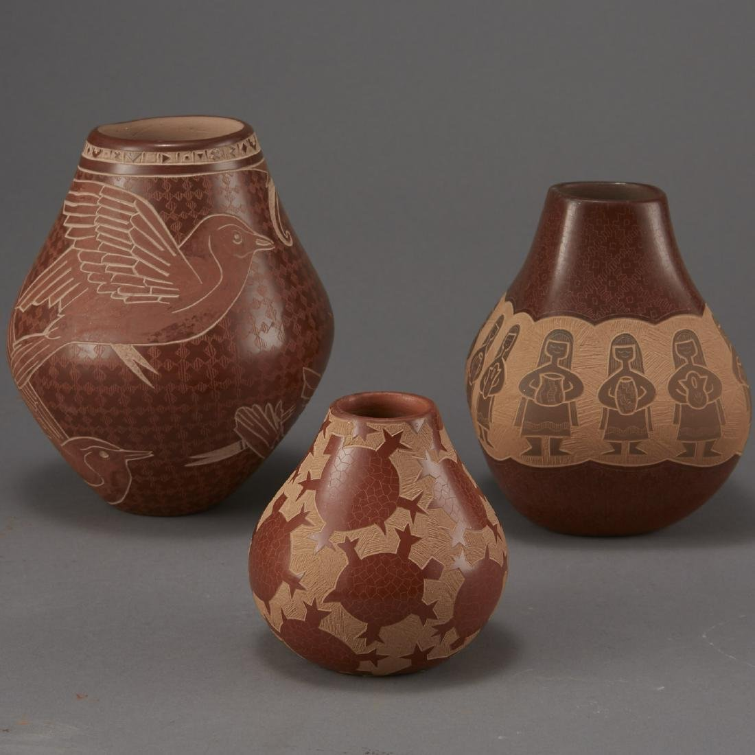 3 Santa Clara Pottery Jars Naranjo and Folwell