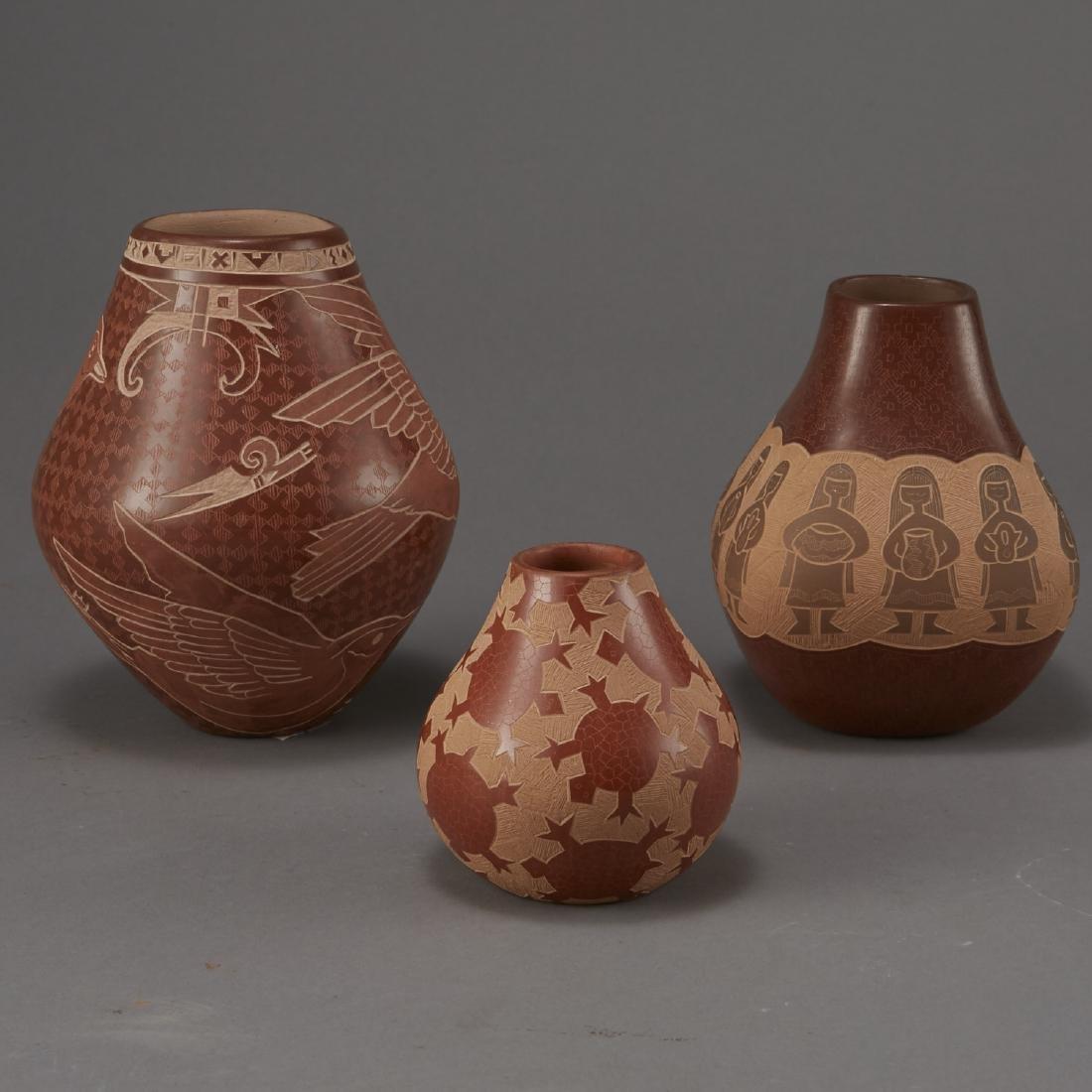 3 Santa Clara Pottery Jars Naranjo and Folwell - 2