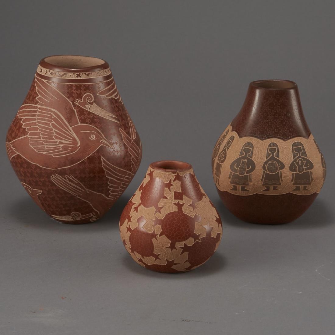 3 Santa Clara Pottery Jars Naranjo and Folwell - 3