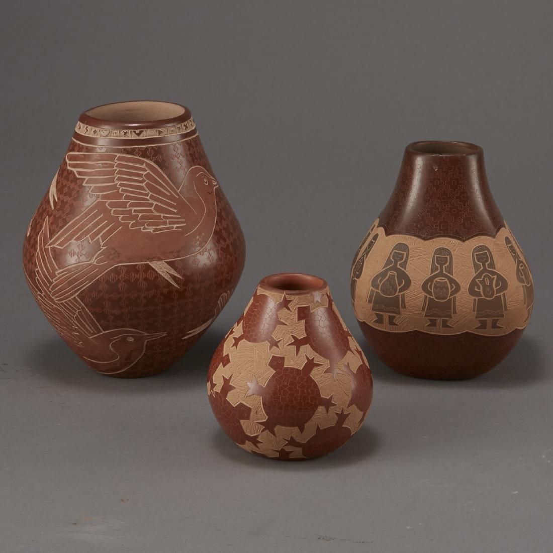 3 Santa Clara Pottery Jars Naranjo and Folwell - 4