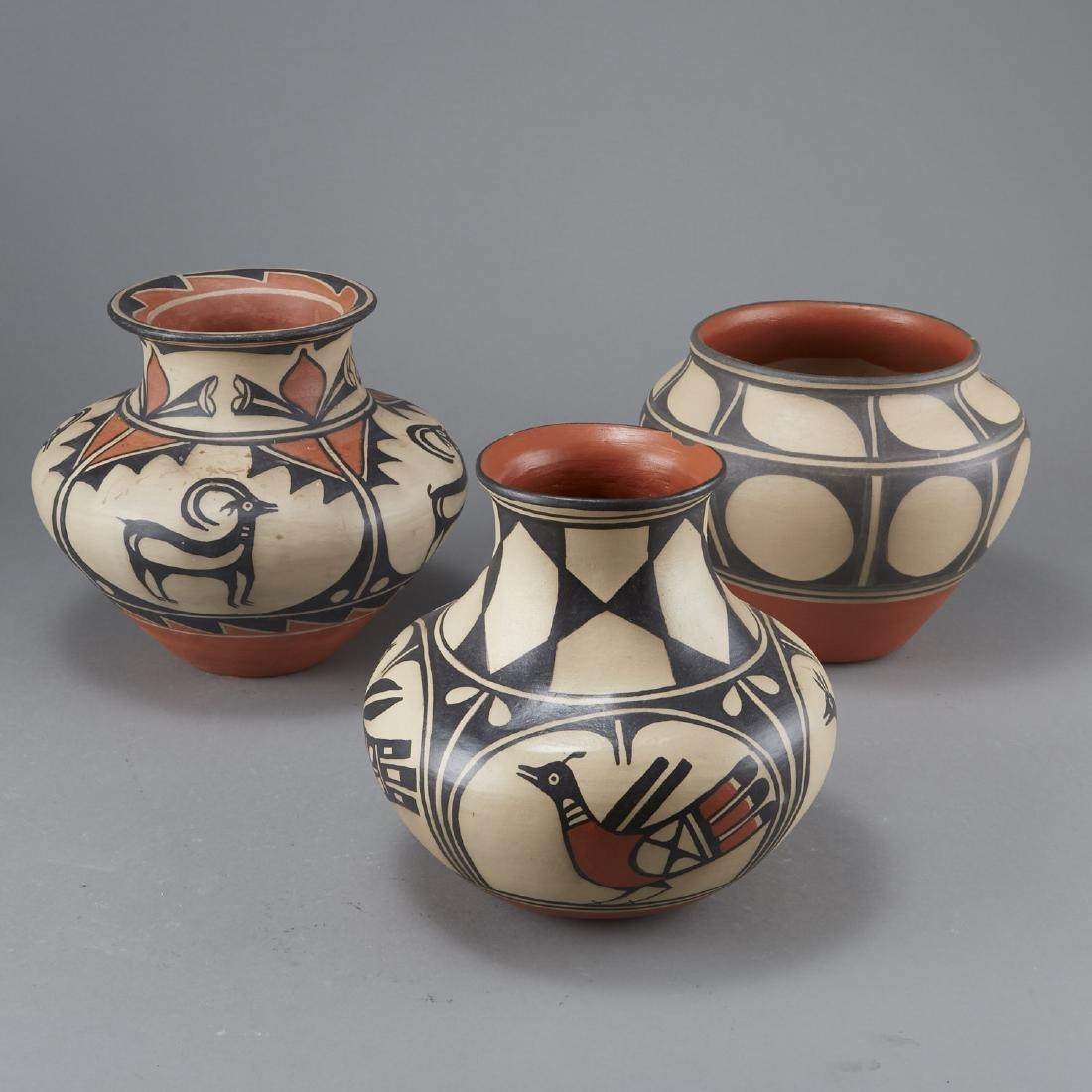 3 Tenorio Kewa Santo Domingo Pottery Jars