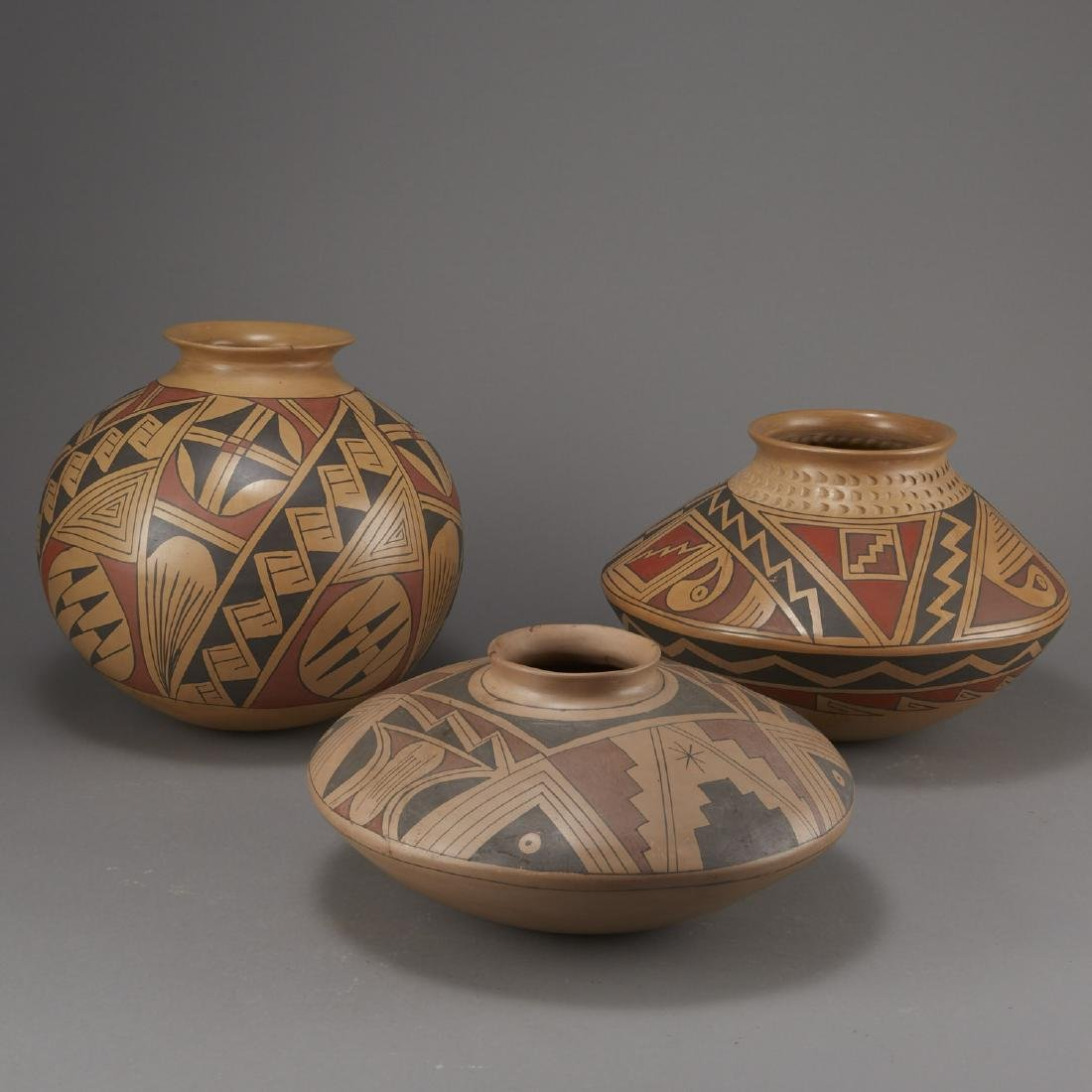 Group of 3 Large Polychrome Pottery Jars