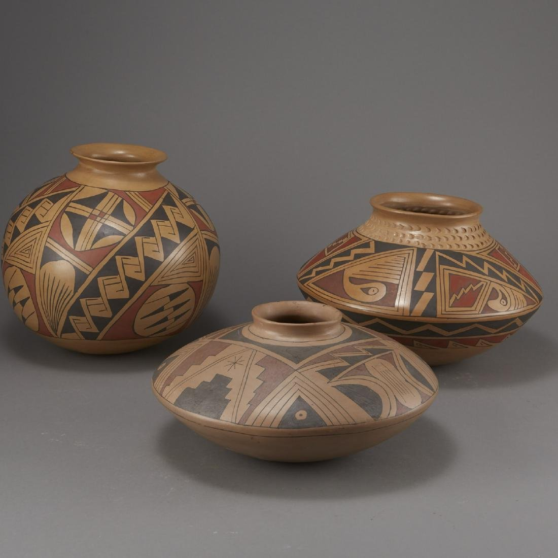 Group of 3 Large Polychrome Pottery Jars - 2