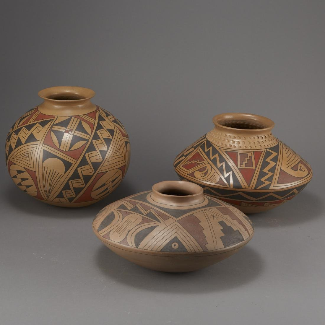 Group of 3 Large Polychrome Pottery Jars - 3