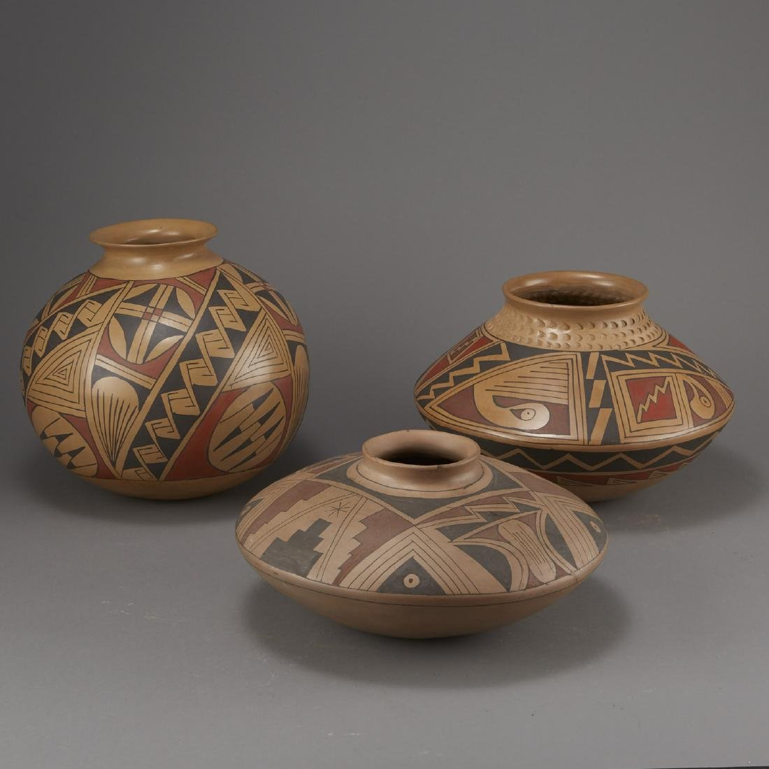 Group of 3 Large Polychrome Pottery Jars - 4
