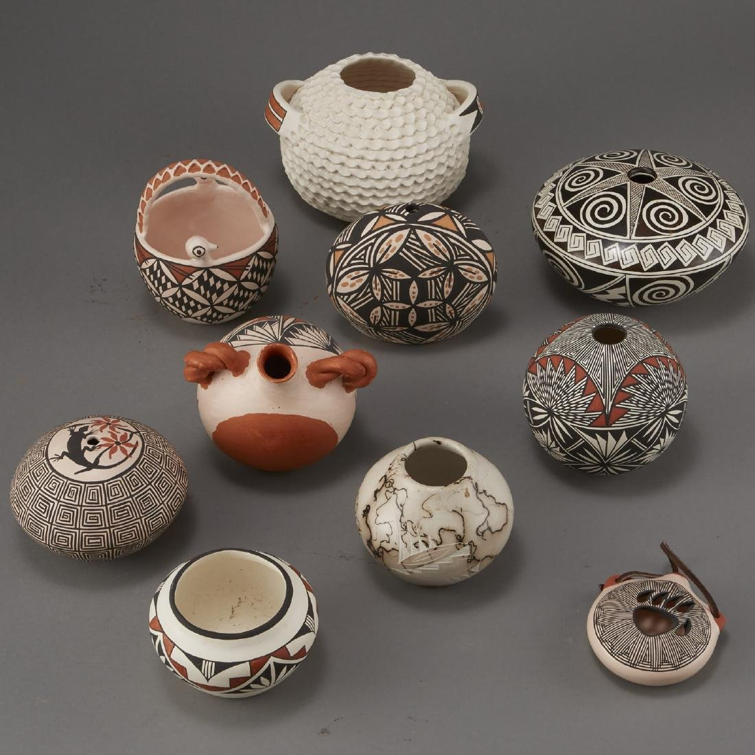 Group of 10 Acoma Pottery Naha Hinshaw