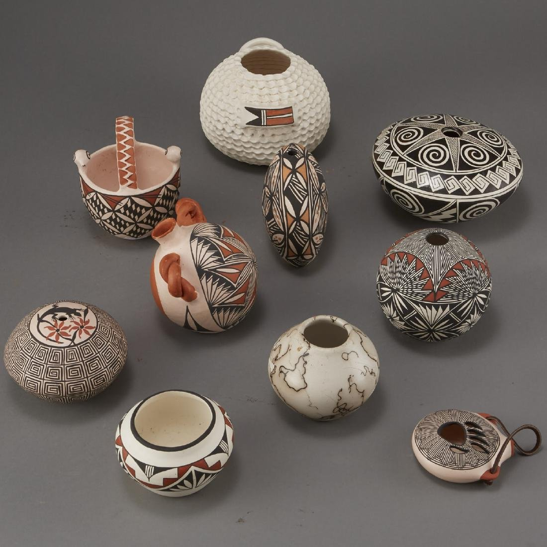 Group of 10 Acoma Pottery Naha Hinshaw - 2