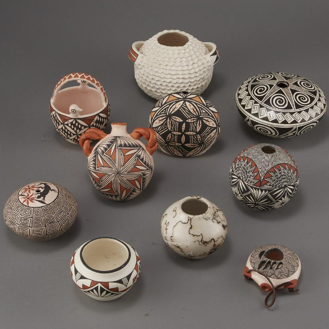 Group of 10 Acoma Pottery Naha Hinshaw - 3