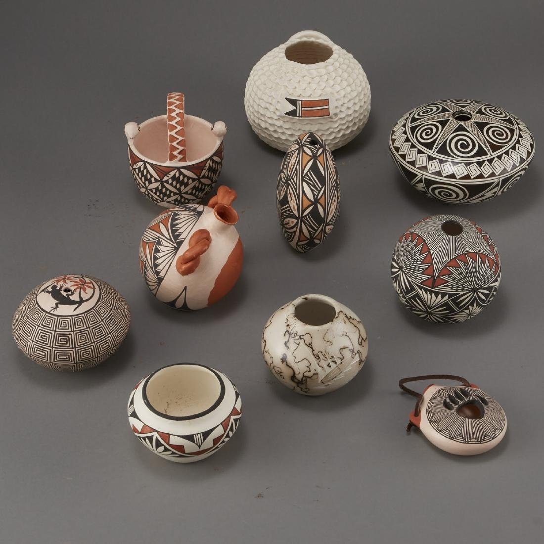 Group of 10 Acoma Pottery Naha Hinshaw - 4