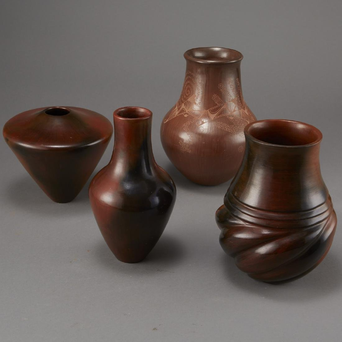 4 Brownware Pottery Manymules, Gonzalez, Cling