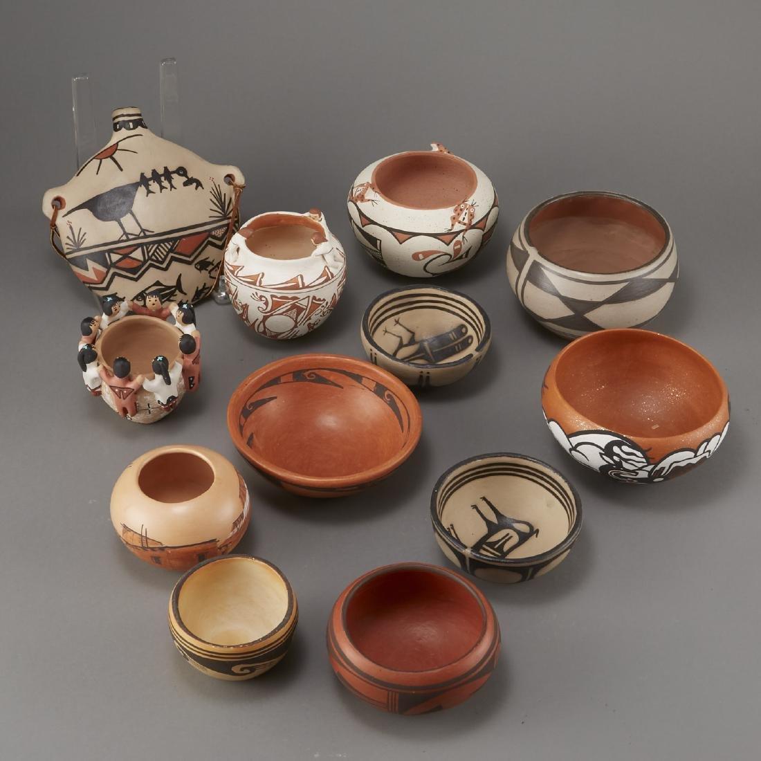 Group of 12 Pueblo Pots and Canteen Kewa Zuni