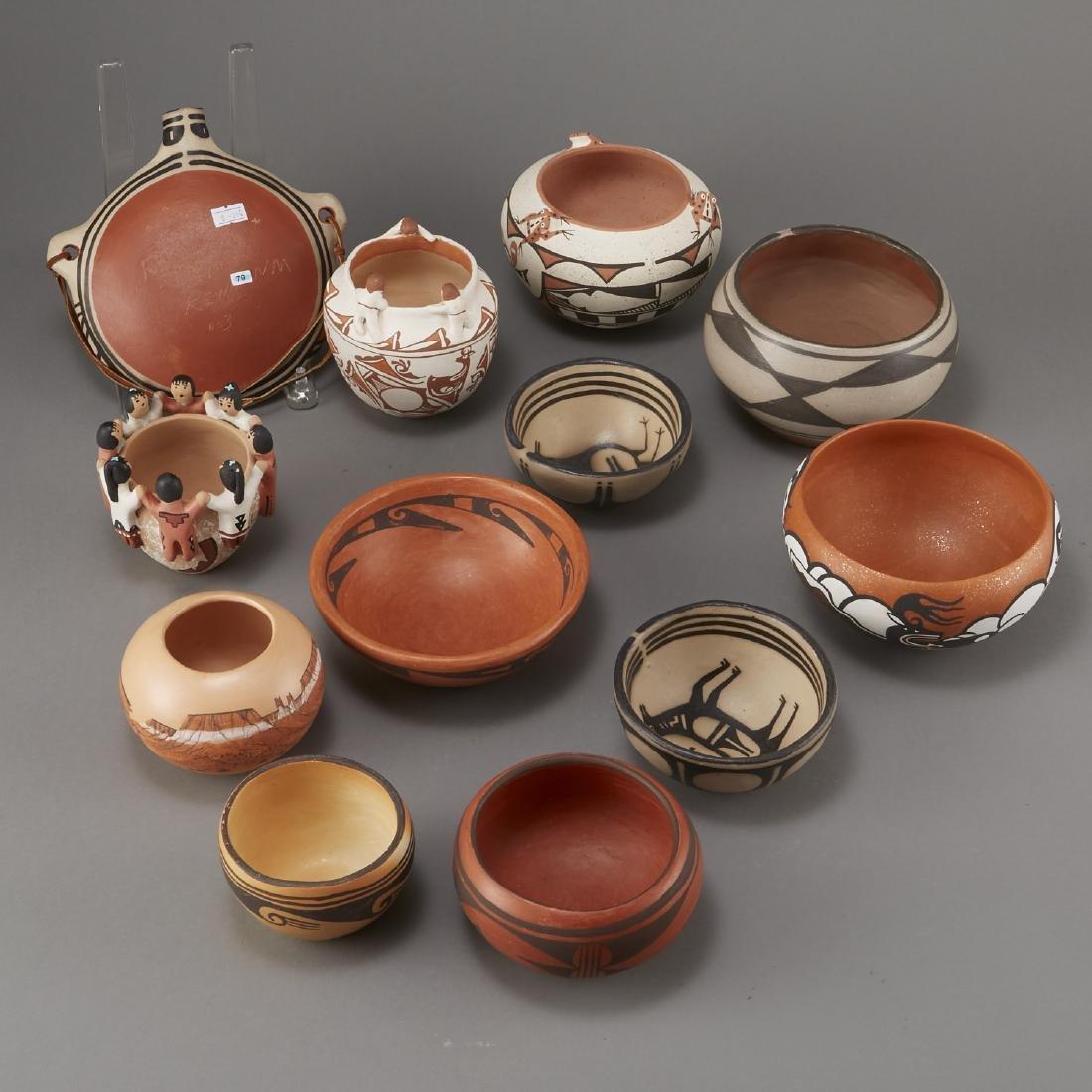Group of 12 Pueblo Pots and Canteen Kewa Zuni - 2