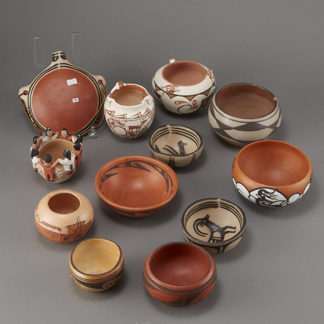 Group of 12 Pueblo Pots and Canteen Kewa Zuni - 3