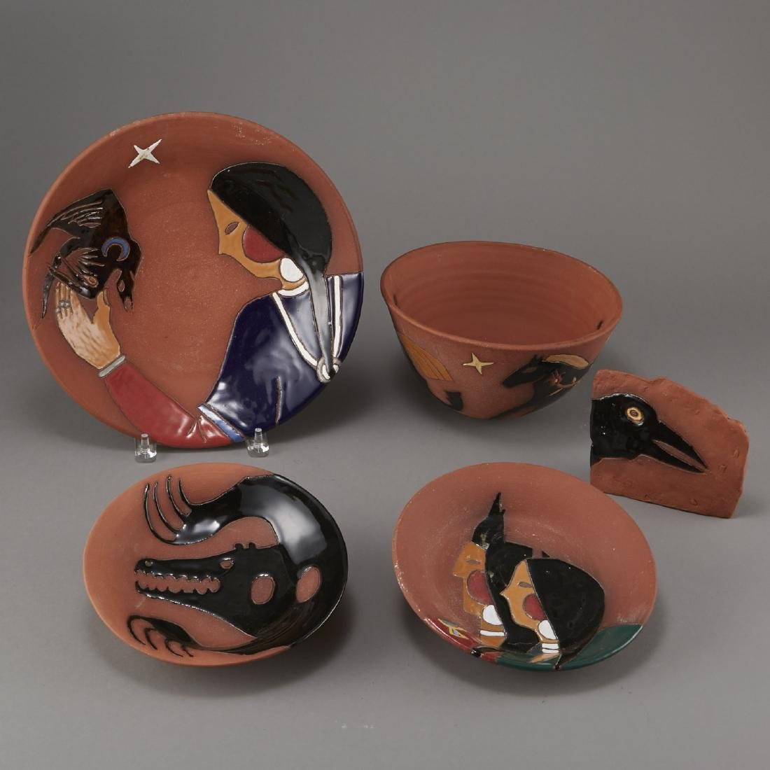 Group of 5 Glen LaFontaine Pottery pieces