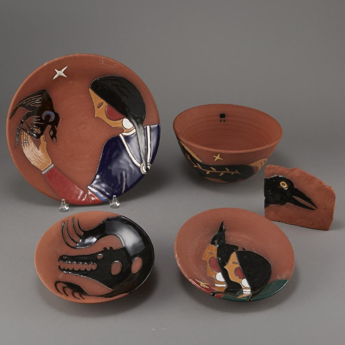 Group of 5 Glen LaFontaine Pottery pieces - 3