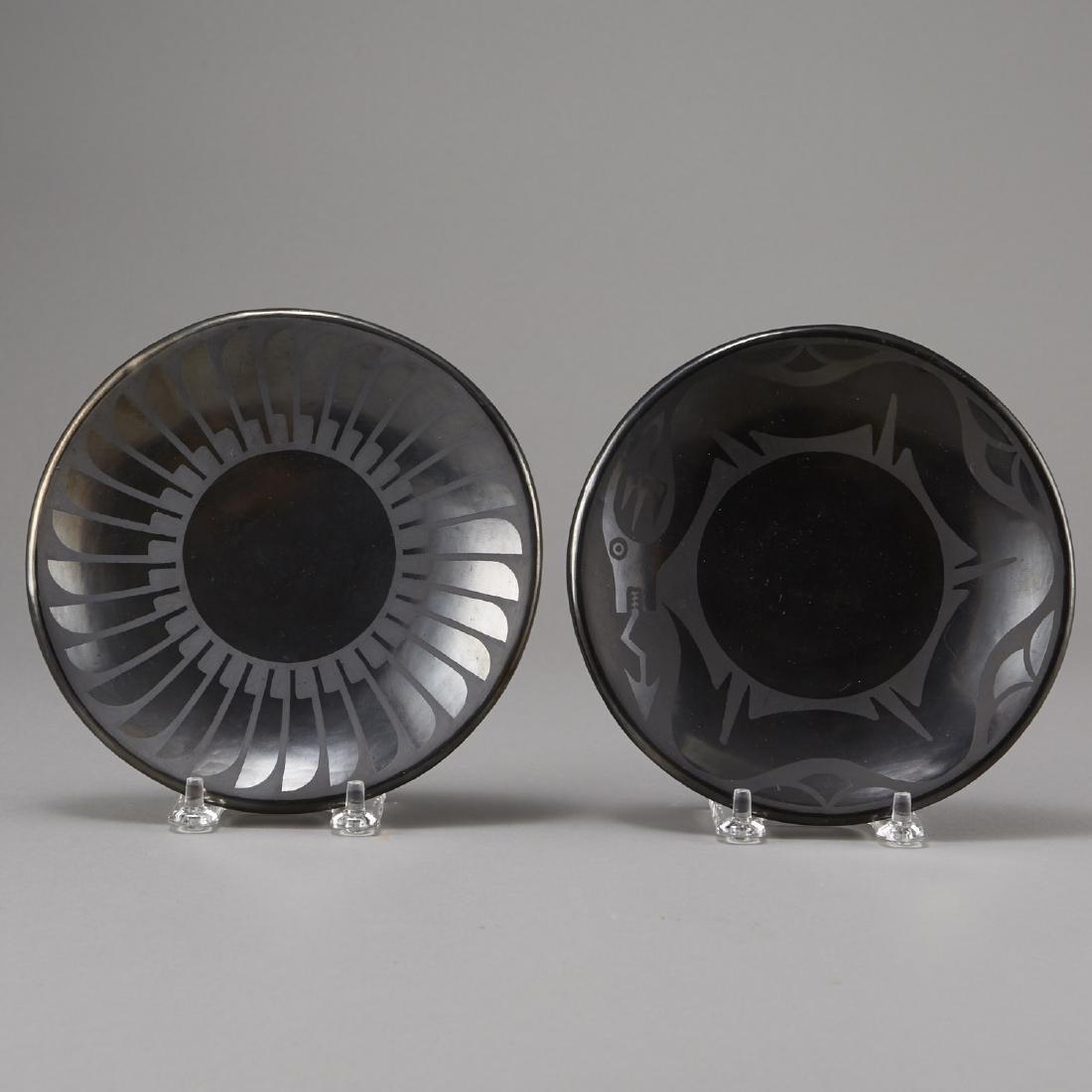 2 Maria Martinez Blackware Plates