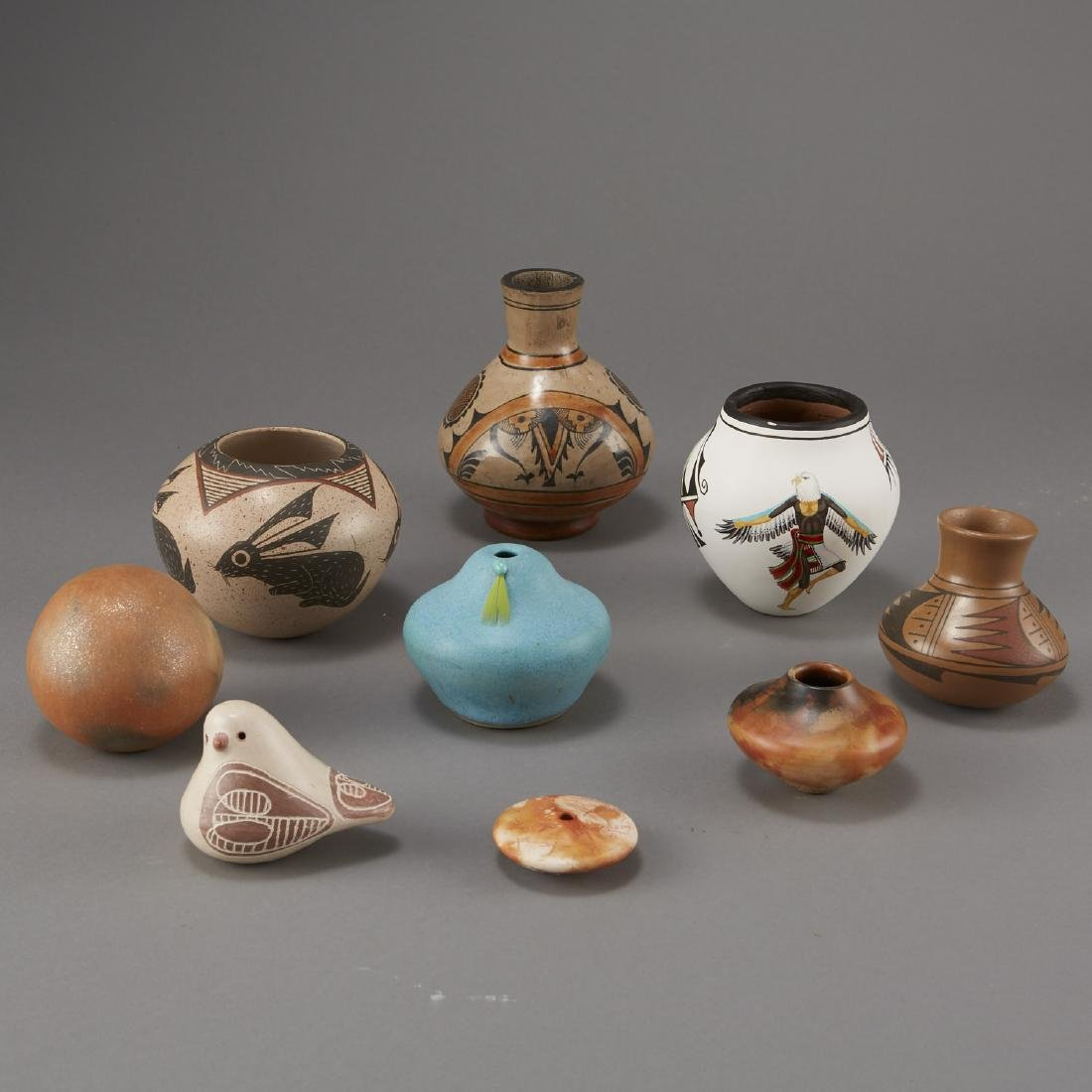 9 Pottery Pieces Pahponee, Lujan-Hauer, Mateos