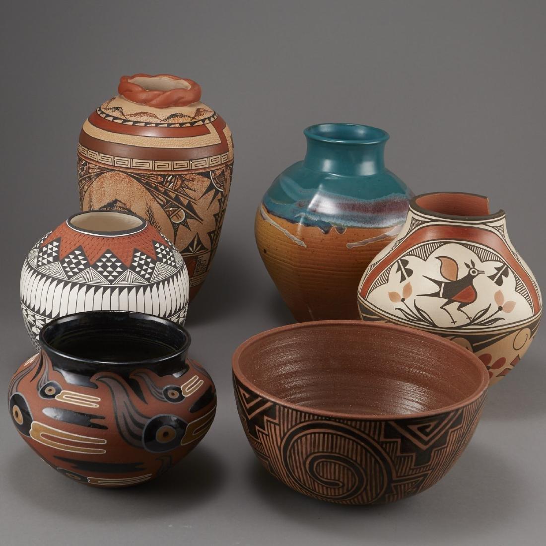 6 Pueblo Pottery Pots incld Fragua, Nez, Medina