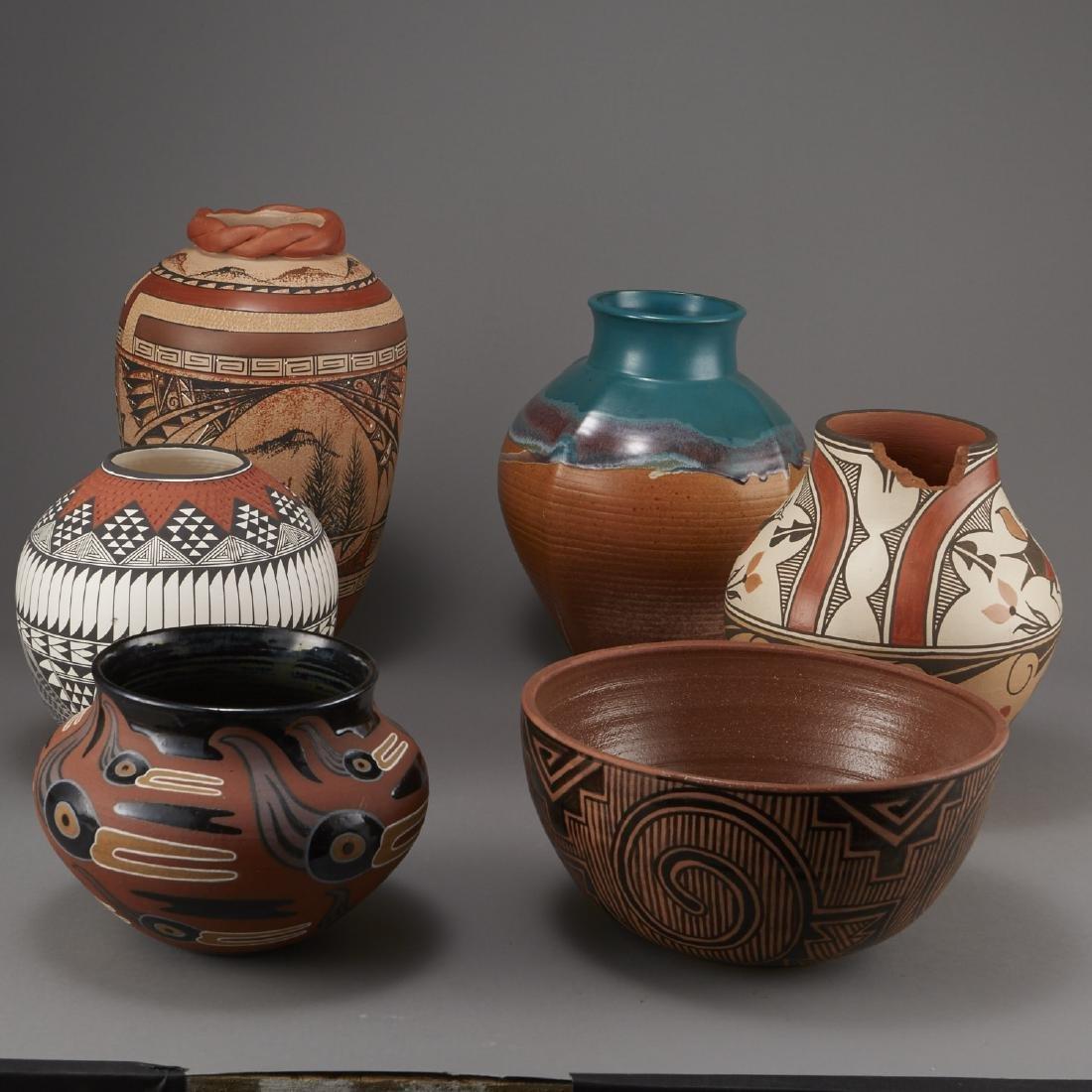 6 Pueblo Pottery Pots incld Fragua, Nez, Medina - 2