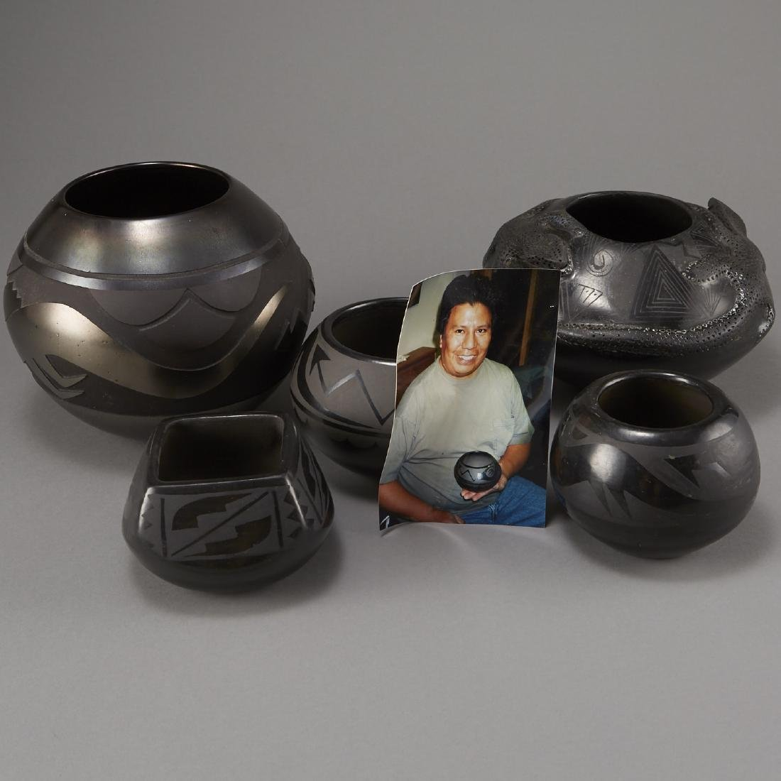 5 Pieces San Ildefonso Blackware Pottery - 5