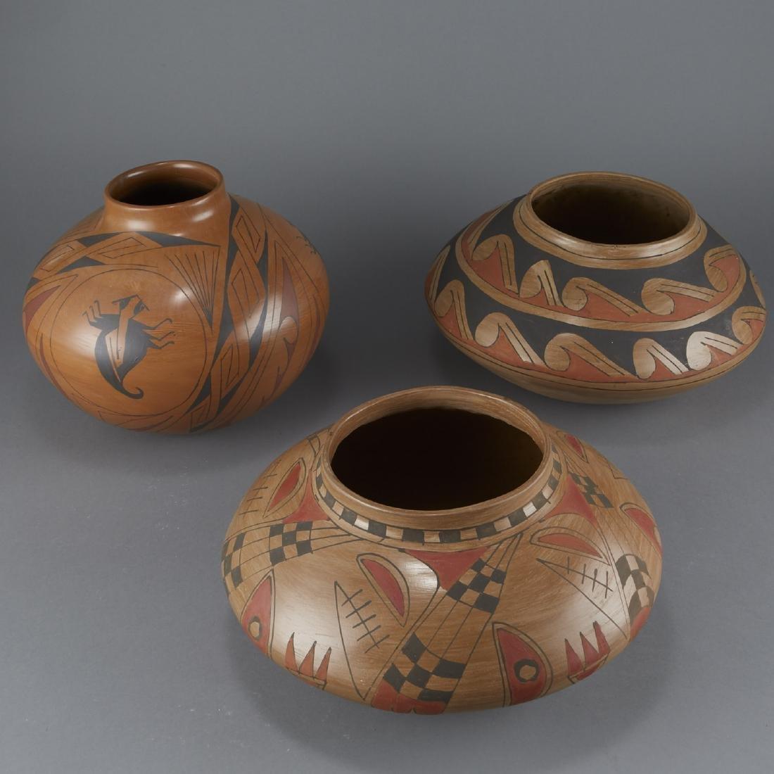 3 Polychrome Pottery Jars