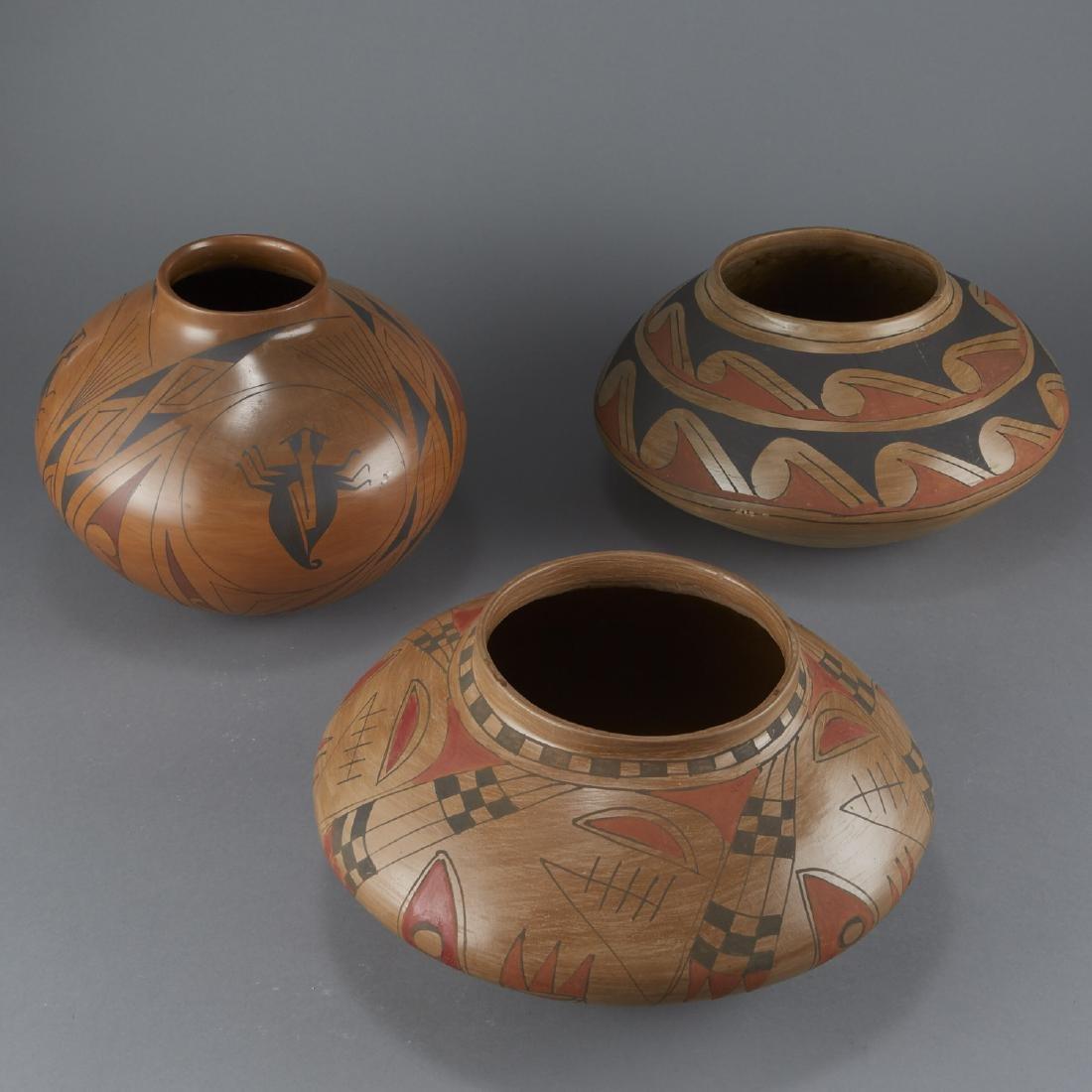 3 Polychrome Pottery Jars - 4