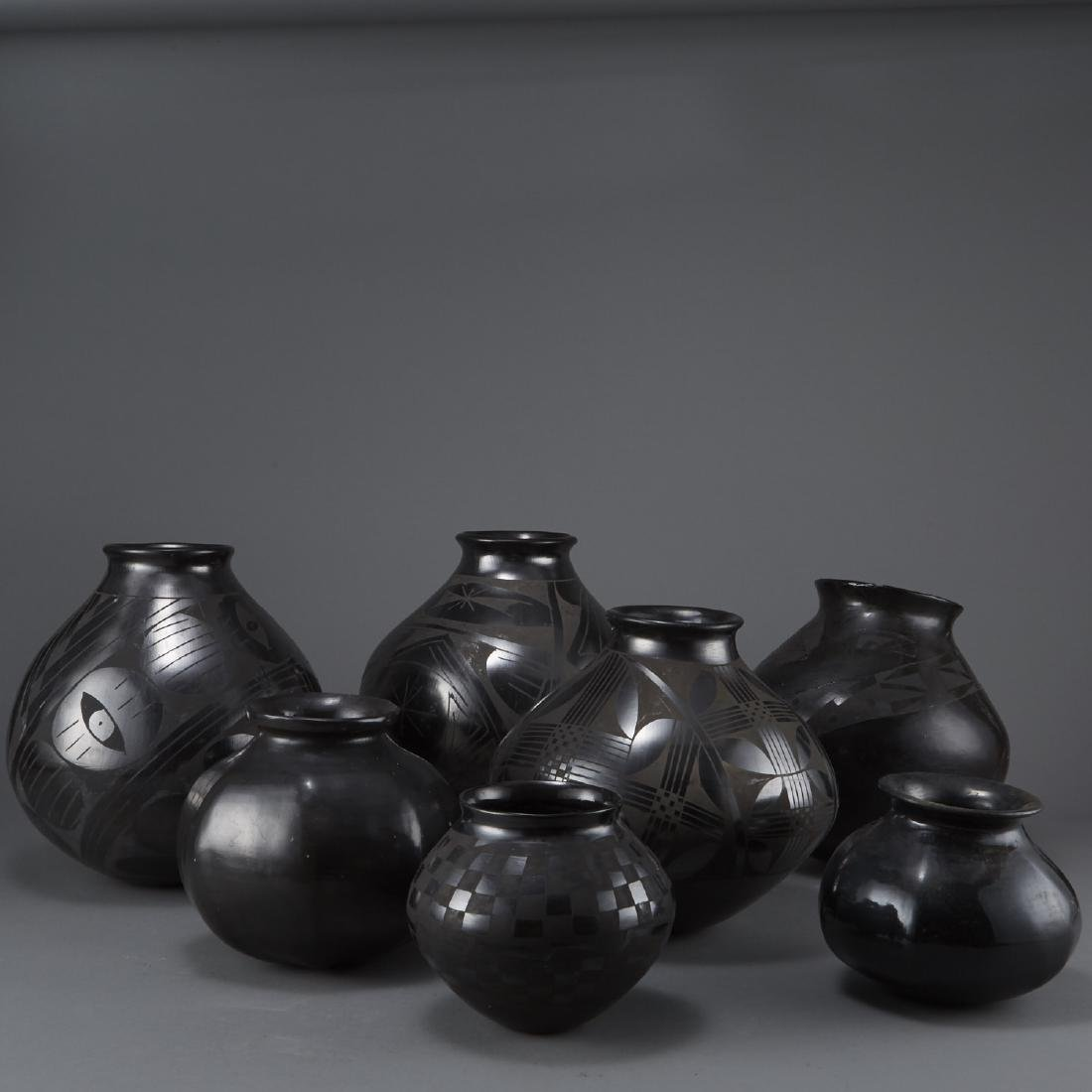 Group of 7 Pueblo Blackware Pots
