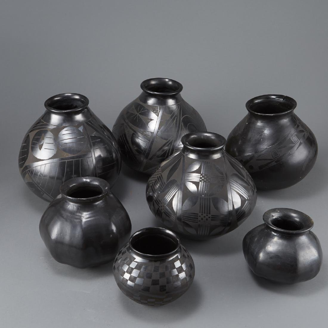 Group of 7 Pueblo Blackware Pots - 4