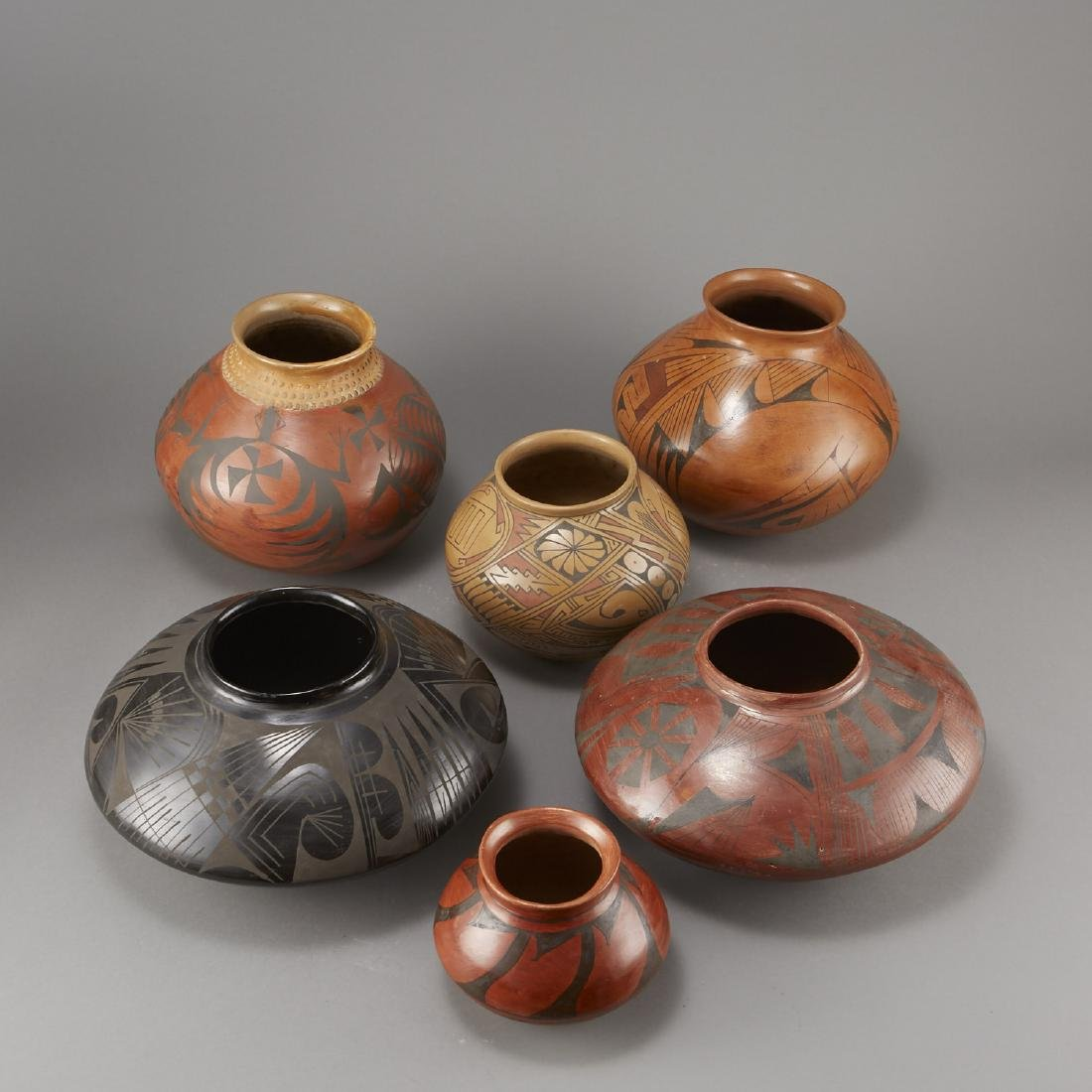 6 Pieces of Polychrome Pottery