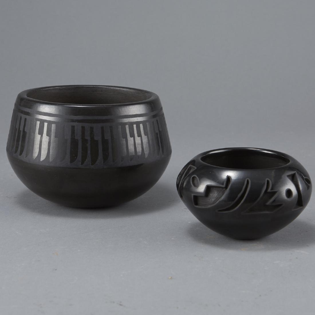 Group of 2 Blackware Pottery Naranjo Velverde